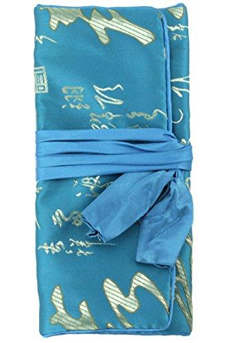 Jewelry Rolle/Kosmetik Tasche Reise Tasche Organizer–Oriental Kalligraphie Brokat türkis / blau