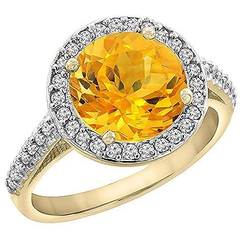 Revoni or jaune 585 or jaune 585/1000 (14 cts) Rond brillant Rond G-H Jaune/orange Citrin Diamant FINERING