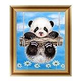 Logres Broderie diamant 5D à motif panda - pour décoration murale