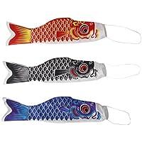 MagiDeal 3 Stück 40cm Japanisch Windsock Karpfen Flagge Koi Nobori Koinobori Hanging Flag Fächer fisch Wind Streamer