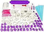 100pcs Fondant Cake Decorating Tools Cutter Cookie Bakeware Icing Decoration Kit with Flower Modelling Mold Mo