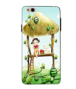 Case Cover Cartoon Printed Green Soft Back Cover For InFocus Bingo 50 Plus