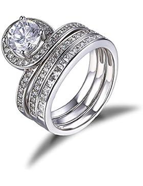 Jewelrypalace Engagement Trauung Hochzeit Verlobung Partnerschaft Geschenk Ring Silberring Set Mit Drei Bands...