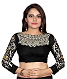 Bollywood Designer Embroidered Black Blouse Material (UNSTICHED)