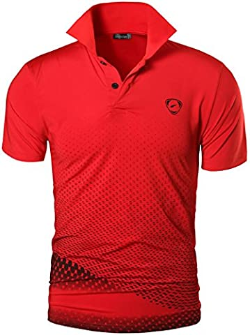 Jeansian Homme De Sport Outdoor Manches Courtes Polos Quick Dry Men Casual Wicking Breathable Running Short Sleeved Fitness Polo T-Shirt Tops LSL195 Red L(XL)