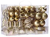 Sea Team 72 Weihnachtskugeln Box Christbaumschmuck aus Kunststoff Glanzend, Gold