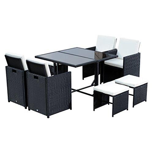Conjunto de Muebles de Jardín 9 Piezas de Ratán con Cojín para Terraza Mesa Sillas y Taburetes de Exterior Color Negro