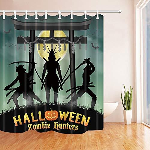 BuEnn Halloween Bad Vorhang Samurai Zombie Hunter mit Japan Stil Tempel Tor bei Mond Nacht Polyester Stoff wasserdicht Duschvorhang für Badezimmer 71X71in Duschvorhänge Haken enthalten (Nacht Creme Japan)