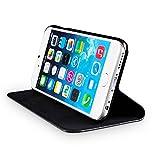 wiiuka Echt Ledertasche TRAVEL Apple iPhone 6S Plus und iPhone 6 Plus (5.5″) mit Kartenfach extra Dünn Tasche Schwarz Premium Design Leder Hülle - 3