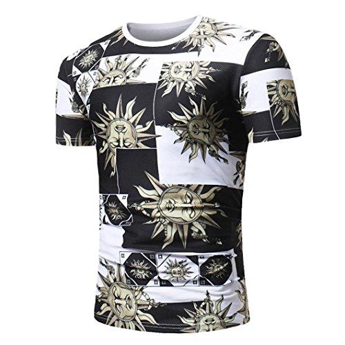 Kanpola Herren African Print T-Shirt Männer Kurzarm Fitness Oberteil Tops Shirt