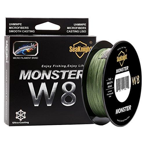 SeaKnight Monster W8geflochtene Angelschnur, 8Fäden / Merhfachfaden, 500m, besonders glatt, Polyethylen, für Meeresangeln, 6,8-45,4kg, Herren, Low-Vis Green