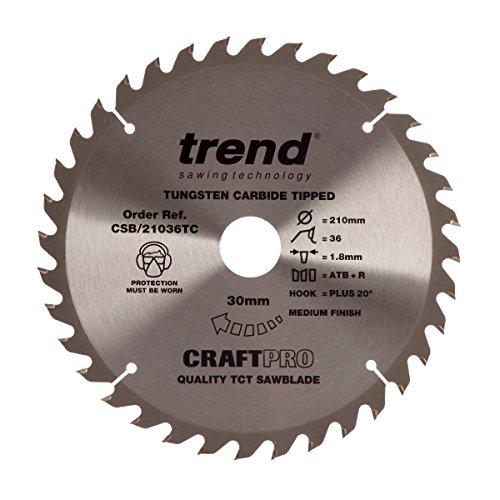 Trend CSB/21036tc Craftpro Sägeblatt 210mm x 36Zähne x 30mm, silber/schwarz