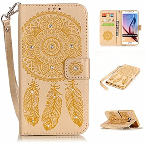 S6 Edge Plus Custodia, Galaxy S6 EDGE PLUS Portafoglio in pelle, M. JVisun strass Dream Catcher in pelle + morbida in silicone con tracolla di tasca custodia Flip Case per Samsung Galaxy S6 EDGE + PLUS G928T g928i, oro, For Samsung Galaxy S6 Edge+ Plus G928T G928I