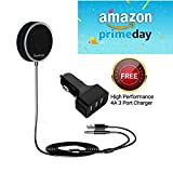 #8: Bluetooth Handsfree Car Receiver Kit Hands-Free Audio Adapter with Microphone, CVC 6.0 Noise Cancellation, 2 Phone Connect, Free Car Charger (Black)
