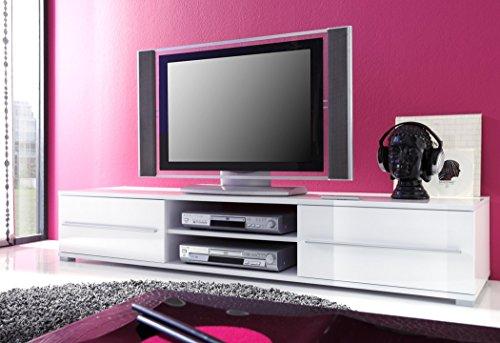 Lowboard Spiros 175x32x47 cm weiß Hochglanz TV-Board Unterschrank TV Board TV Bank