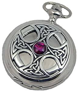 A E Williams 4807 Celtic mens quartz pocket watch with chain