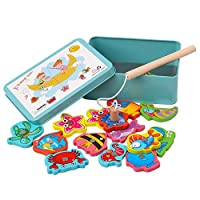 JYC Novelty Toys Clearance.Sale 15Pcs Fish Wooden Magnetic Fishing Toy Set Fish Game Educational Fishing Toy
