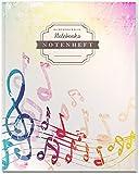 DÉKOKIND Notenheft   DIN A4, 64 Seiten, 12 Notensysteme pro Seite, Inhaltsverzeichnis, Vintage Softcover   Dickes Notenbuch   Motiv: Bunte Musiknoten