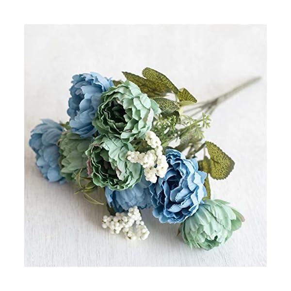 HVdsyf 1 Ramo De Flores Artificiales, 8 Cabezas De Textura Clara Ramo De Flores De Peonía Decoración Artesanal para El…