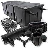 SunSun Filter Set für 90000l Teich 36W Teichklärer NEO8000 70W Pumpe 25m Schlauch Skimmer SK30