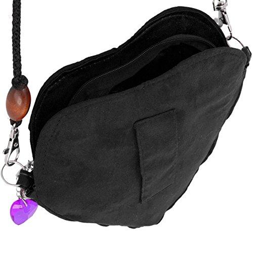 Trachtentasche Dirndl Tasche Handtasche Herz Form, Reißverschluss, abnehmbarer Trageriemen, Schürzenschlaufe Schwarz