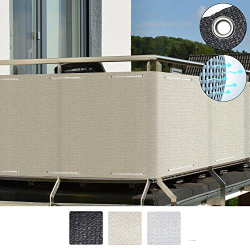 Sol Royal SolVision Balkon Sichtschutz HB2 HDPE Blickdichte Balkonumspannung 90x300 cm - Creme - mit Ösen und Kordel