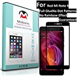 Mobonic |2.5D 9H Full Cover| |Full Glue| |No Dot Patterns No Rainbow Guaranteed| |Gorilla Glass| |Scratch Shock Proof| |Anti Explosion| |Tempered Glass| Screen Protector Shield For Xiaomi Red Mi Note 4 [0.3mm 2.5D Curved Ultra HD Clear Proper Camera And S