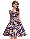 Belle Poque® Womens 50s Vintage Floral Printed/Polka Dots Pleated Cross Bust Swing Dress