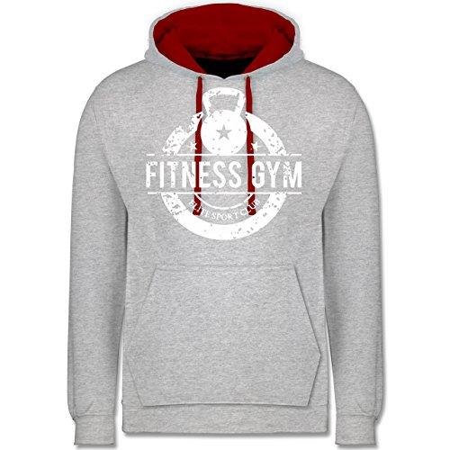 CrossFit & Workout - Fitness Gym Elite Sport Club - Kontrast Hoodie Grau Meliert/Rot