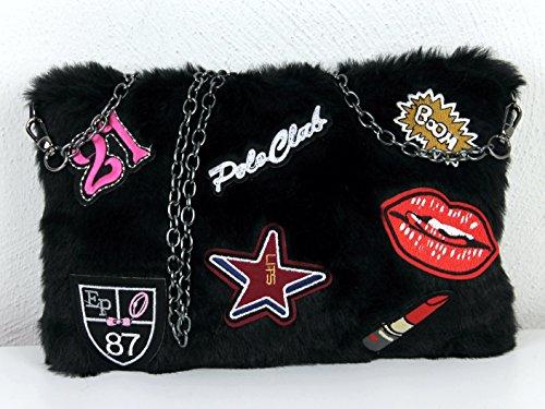 Limited Colors Damen Clutch Tasche BOOM Fell Imitat Plüsch Sticker Patches Kette Schultertasche Schwarz