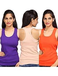 ALBATROZ Cotton T Back Ladies Plain Spaghetti Tank Top Vest Camisole Sando for Women Combo of 3 Purple and Orange and Skin (Free Size)