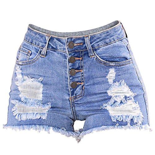 Haughtily Frauen Slim Washed Ripped Kurze Mini Jeans Denim Sexy Hosen mit Metallknöpfen Taschen herausgeschnitten
