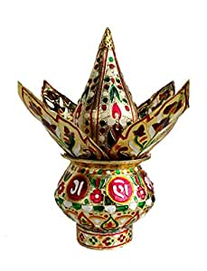 Rastogi Handicrafts Mangal Kalash Set Meenakari Work for Puja Kalash in Temple Home Decor Decorative Lota Narial Patta
