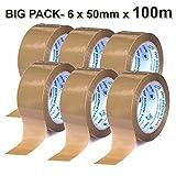 BIG PACK Klebeband✅⭐⭐⭐⭐⭐✅ 6 Rollen MIT 100 M x 50 mm. Paket-band/Packband / Paketklebeband/Paket-band/Leicht & Leise abrollend - BRAUN
