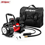 Hi-Spec Heavy Duty 12V Single Cylinder Portable Air Compressor Pump with Digital LED