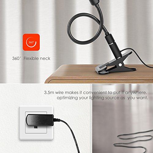 Leselampe buch klemme 4W Klemmleuchte, LED Klemmlampe Schreibtischlampe Berührungssteuerung Dimmbar Augepflege mit 3 Helligkeitstufe, Flexibel Büchlampe Bettlampe für