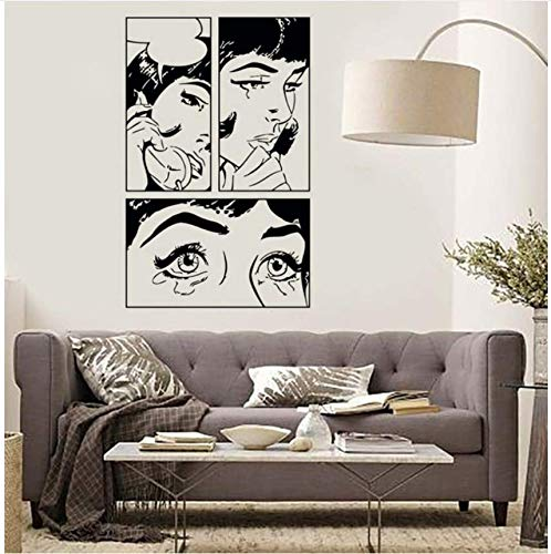 Qthxqa Cartoon Mädchen Vinyl Wandaufkleber Mädchen Frau Teen Weinen Cool Pop Art Schlafzimmer Wandtattoo Design Persönlichkeit Tapete 56 * 88 Cm