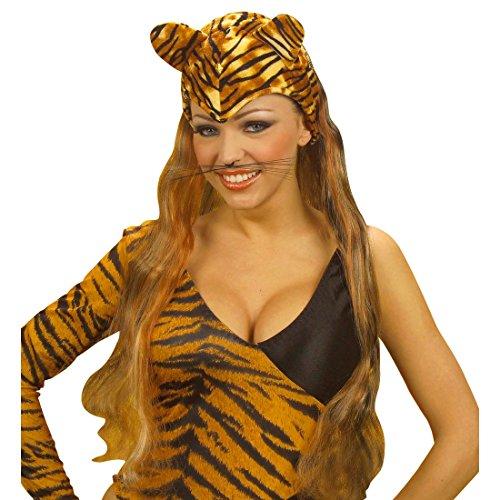 Tiger Mütze mit Ohren und Haaren Tigermütze braun Tigerkopf Haube Tiermütze Kostüm (Haar Tiger Kostüm)