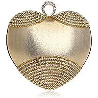 XNWYSTB Bolso de Novia \ Bolso de Noche de Embrague \ Bolsos de Hombro \ Bolso con Forma de corazón de Diamantes de imitación Vestido de Banquete Bolso de Cena de Noche