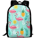 best& Stylish Pink Flamingo Pineapples Exotic Leaves Laptop Backpack School Backpack Bookbags College Bags Daypack