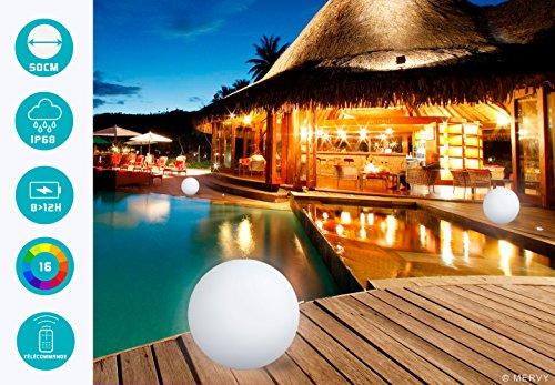 MERVY Kugel LED Deko Kugel Lichterkette bunt + Fernbedienung/innen–außen/Ladegerät Wireless Induktion, mehrfarbig, 50 cm