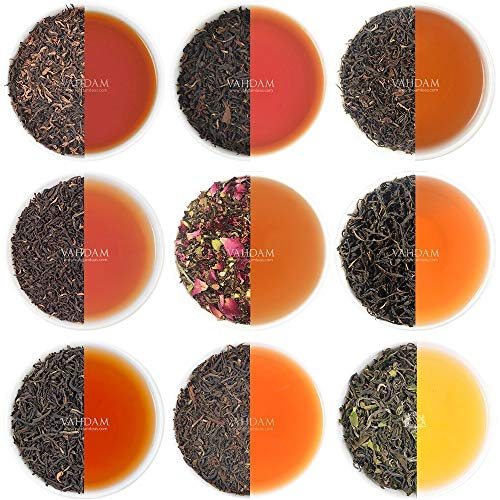 VAHDAM, Black Tea Sampler - 10 TEAS, 50 Servings | 100% Natural Ingredients | High Caffeine, Healthy Coffee Replacement | Brew Hot, Iced, Kombucha Tea | Black Tea Loose Leaf | Tea Variety Pack