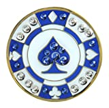 Navika Poker Chip Swarovski Crystal Ball Marker with Hat Clip (Blue Spade)