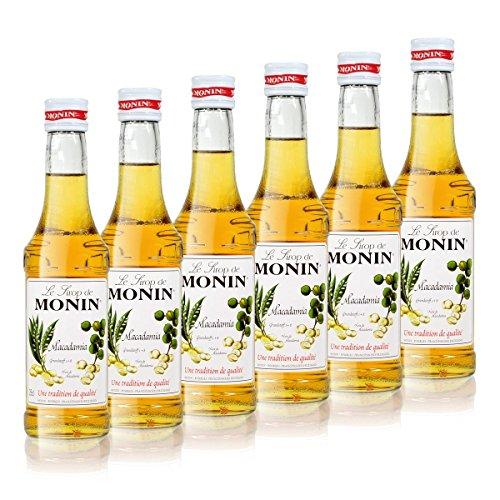 6x Monin Macadamia Sirup, 250 ml Flasche