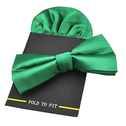 PenSee Herren-Fliege, vorgebunden, mit Einstecktuch-Karte, Set, aus Seide, einfarbig Gr. onesize, Green 1 (Tie Green Bow)