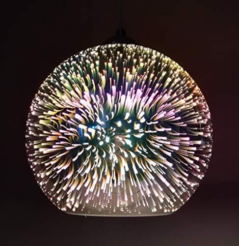 Moderne Neuheit Glaskugel Pendelleuchten - 3D bunte Anhänger Beleuchtung hängende Leuchte E27 Lampenschirm (Glühbirne nicht im Lieferumfang enthalten) -