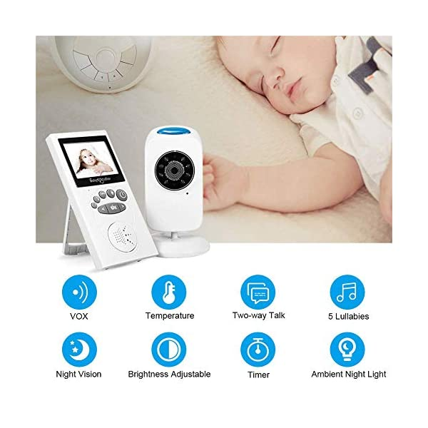 LifetSmart Baby Monitor,Digital Video Baby Monitor 700FT Operating Range with Infrared Night Vision,Two Way Talk,Ambient Light,Temperature Sensor and 5 Classic Lullabies LifetSmart UPGRADED 2018 VERSION :This baby monitor featured with 2.4ghz Fhss wireless technology which won't interfer wifi.With camera allows you to monitor the baby's activities in real time without missing any precious moment. You can also use the baby monitor to check elders. TWO-WAY TALK:Built-in high sensitivity microphone and speaker,the digital video baby monitor allows you to talk with your baby with the sound of your own voice to comform him/her when they are crying. NIGHT VISION & AMIENT LIGHT :Equipped with automatic night vision function,it will automatically detect light conditions and provide clear images to see your baby during the night. There is also a warm nightlight on the top of the camera which can create a comfortable atomasphere for baby. 4