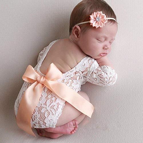 FOONEE - Traje de Encaje para fotografía de bebé recién Nacido, Traje de bebé niña, Accesorios para fotografía, Mono de Encaje para Fotos Amarillo champán