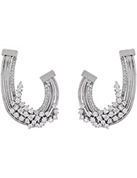 SHAZE Rhodium Plated Filigree Hoops Earrings For Womens |Earrings For Women|Earrings For Women Stylish