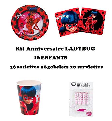 Kit Miraculous Ladybug 52 pièces Anniversaire Fête 16 enfants (16 gobelets, 16 assiettes et 20 serviettes) 10 bougies offertes